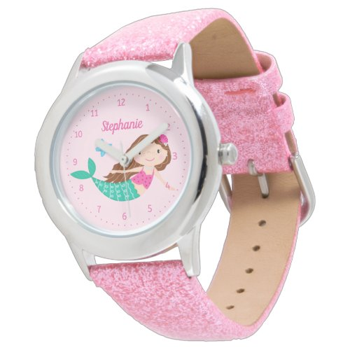 Mermaid Cute Pink Personalized Watch