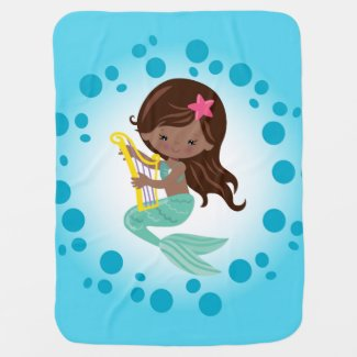 Mermaid - Cute Under The Sea African American Baby Blanket