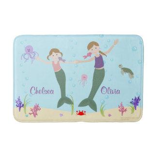 Mermaid Dark Blonde Sisters Personalized Bath Mat