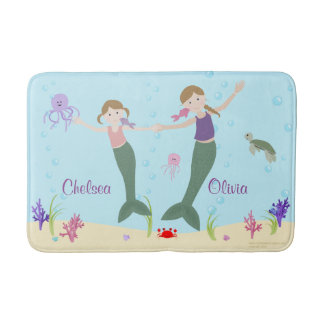 Mermaid Dark Blonde Sisters Personalized Bath Mat Bath Mats
