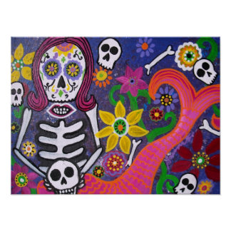MERMAID DAY OF THE DEAD POSTER