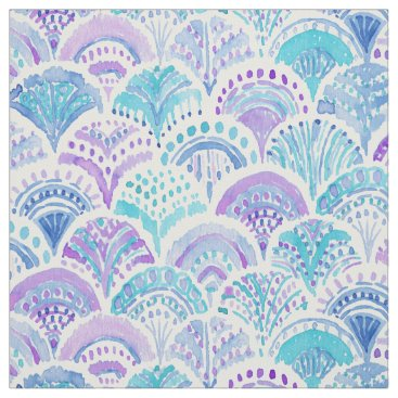 Beach Themed MERMAID DAYDREAMS Watercolor Boho Beach Fish Scale Fabric