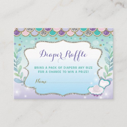 Mermaid Diaper Raffle Baby Shower Under the Sea Enclosure Card