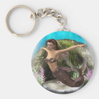 Mermaid Diva Basic Round Button Keychain