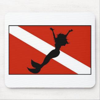 Mermaid Diver Flag Mouse Pad