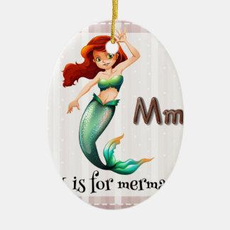Mermaid Double-Sided Oval Ceramic Christmas Ornament
