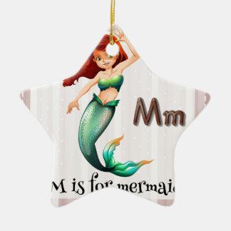 Mermaid Double-Sided Star Ceramic Christmas Ornament