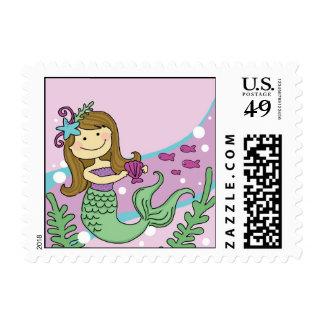 Mermaid Down Postage Stamps: Brunette