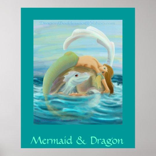 Mermaid & Dragon Poster