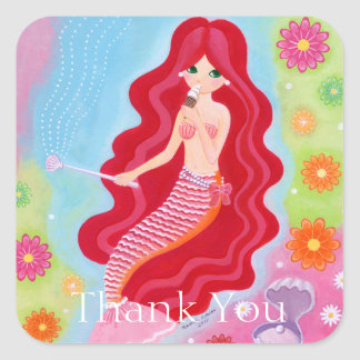 Mermaid Dream painting Thank You Square Sticker