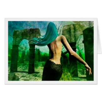 Mermaid Dreaming (El Greco style) notecard