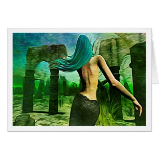 Mermaid Dreaming (Expressionist/Gr style) notecard