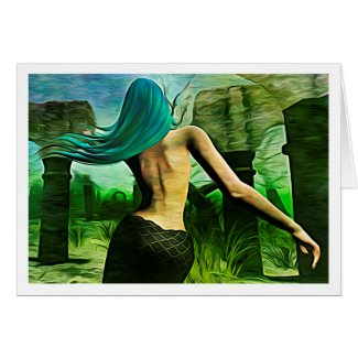 Mermaid Dreaming (Expressionist style) notecard