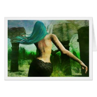 Mermaid Dreaming (Impressionist style) notecard
