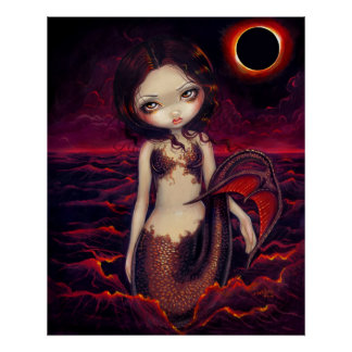 Mermaid Eclipse gothic moon fantasy Art Print