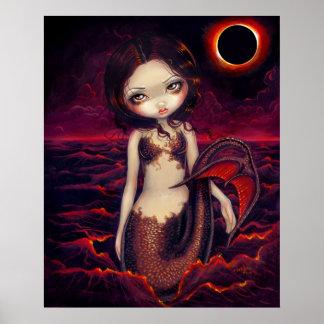 Mermaid Eclipse gothic moon fantasy Art Print