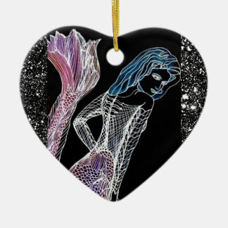 Mermaid Elegance Black Starfield CricketDiane Art Ceramic Ornament