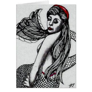 Mermaid Elise Black & W  CricketDiane Art & Design Card