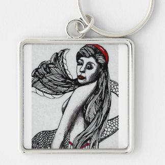 Mermaid Elise Black & W  CricketDiane Art & Design Keychain