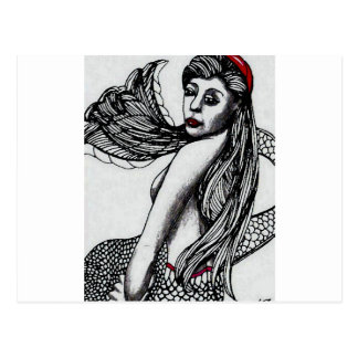 Mermaid Elise Black & W  CricketDiane Art & Design Postcard