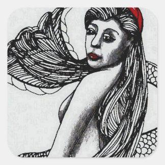 Mermaid Elise Black & W  CricketDiane Art & Design Square Sticker