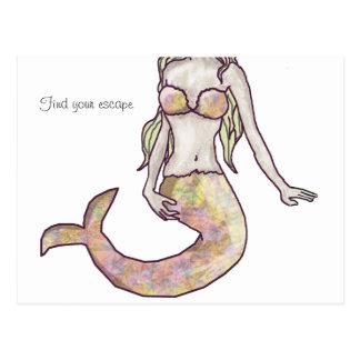 mermaid escape postcard