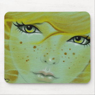 Mermaid face freckles Mousepad