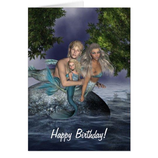 Mermaid Family Birthday Card
