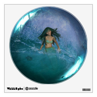 Mermaid Fantasy Art Glass Sphere Wall Decal