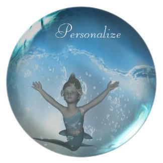 Mermaid Fantasy Art Personalized Plate