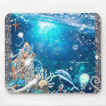 Beach Themed Mermaid Fantasy Blonde Enchanted Beach Computer Mouse Pad