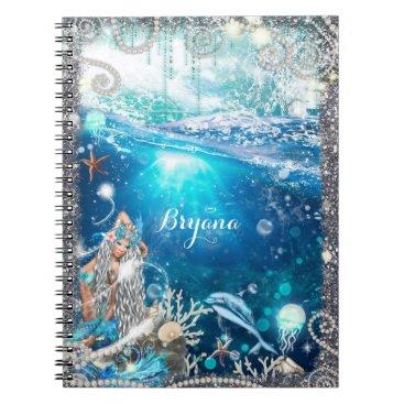 Beach Themed Mermaid Fantasy Blonde Enchanted Beach Fantasy Notebook