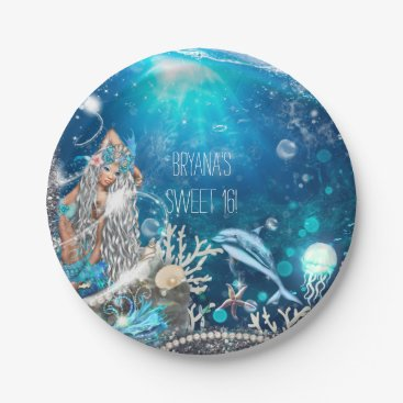 Beach Themed Mermaid Fantasy Blonde Enchanted Beach Party Paper Plate