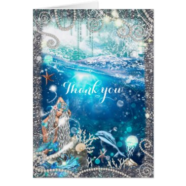Beach Themed Mermaid Fantasy Blonde Enchanted Beach Thank You Card