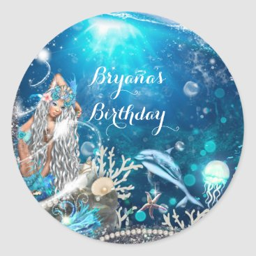 Beach Themed Mermaid Fantasy Blonde Enchanted Party Favor Classic Round Sticker