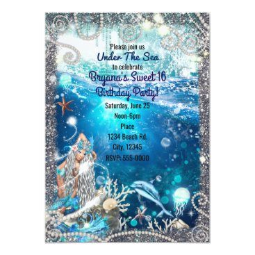 Beach Themed Mermaid Fantasy Blonde Enchanted Sea Sweet 16 Card