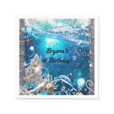 Beach Themed Mermaid Fantasy Enchanted Birthday Party Paper Napkin