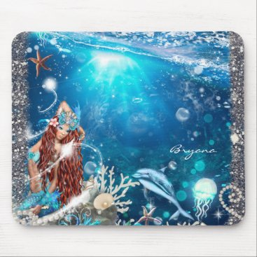 Beach Themed Mermaid Fantasy Red Head Enchanted Beach Mouse Pad