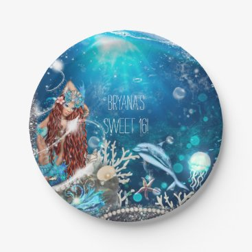 Beach Themed Mermaid Fantasy Red Head Enchanted Beach Party Paper Plate
