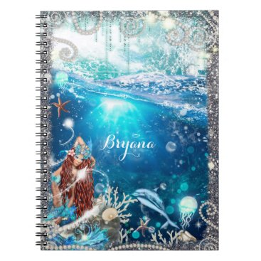 Beach Themed Mermaid Fantasy Red Head Enchanted Beach Spiral Notebook