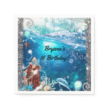 Beach Themed Mermaid Fantasy Red Head Enchanted Birthday Party Paper Napkin