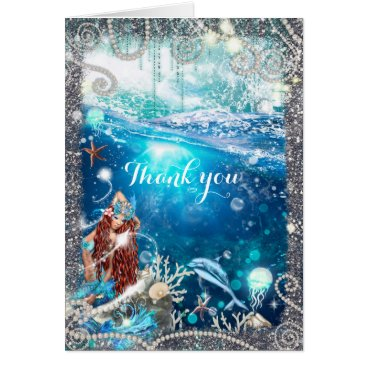 Beach Themed Mermaid Fantasy Red Head Enchanted Fantasy Card