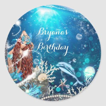 Beach Themed Mermaid Fantasy Red Head Enchanted Party Favor Classic Round Sticker