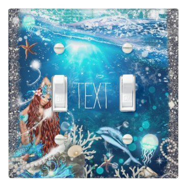 Beach Themed Mermaid Fantasy Red Head Enchanted Sea Fantasy Light Switch Cover