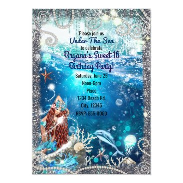 Beach Themed Mermaid Fantasy Red Head Enchanted Sea Sweet 16 Card