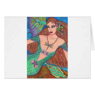 """Mermaid Fantasy """"The Dragonfly Necklace"""" Art Greeting Card"""