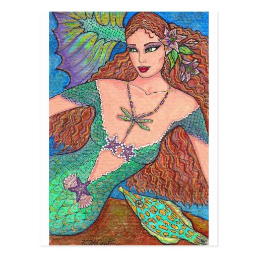 "Mermaid Fantasy ""The Dragonfly Necklace"" Art Post Card"