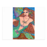 """Mermaid Fantasy """"The Dragonfly Necklace"""" Art Post Card"""