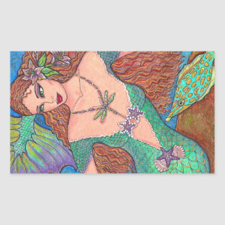 "Mermaid Fantasy ""The Dragonfly Necklace"" Art Sticker"