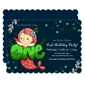 Mermaid First Birthday Cute Pink Invitation